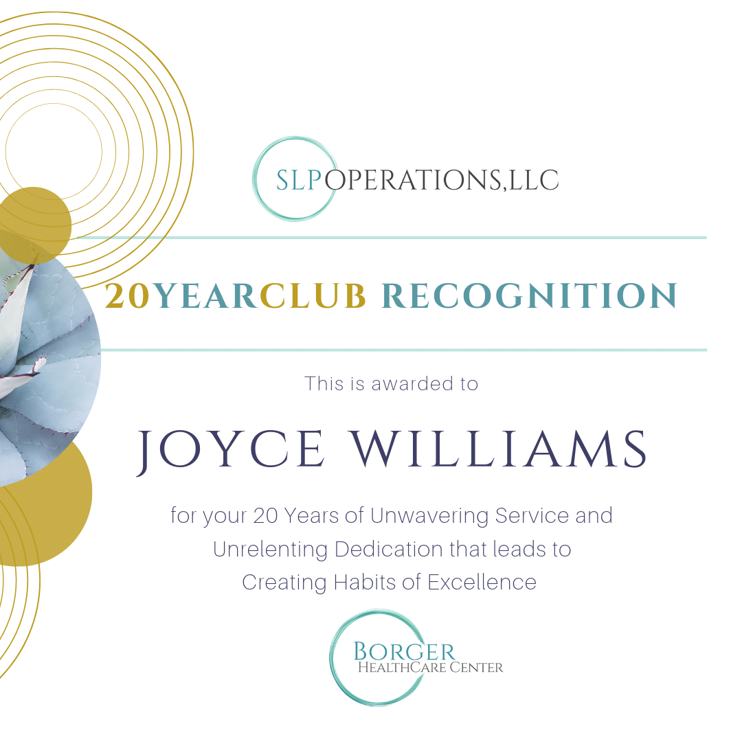 Joyce Williams – 20Y Club Member at Borger!